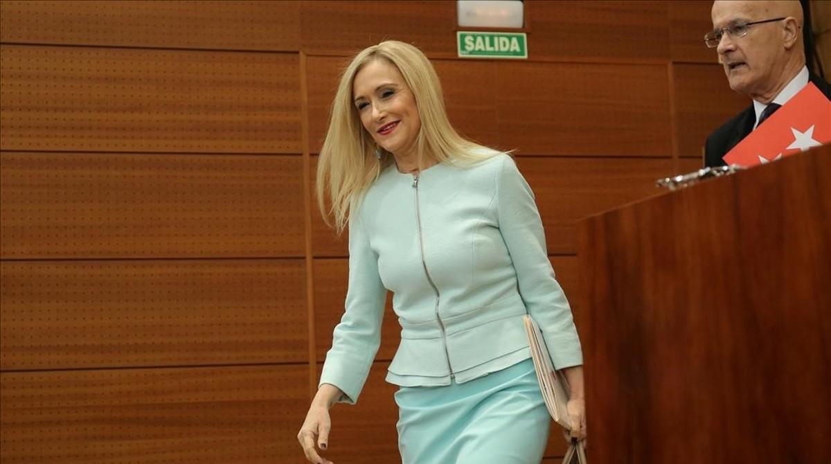 Cristina Cifuentes, el pasado jueves en la Asamblea de Madrid.