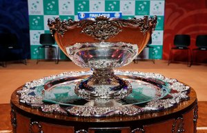 Tennis - Davis Cup Final Draw - France v Croatia - Stade Pierre Mauroy, Lille, France - November 22, 2018 The Davis Cup trophy on display before the draw REUTERS/Pascal Rossignol