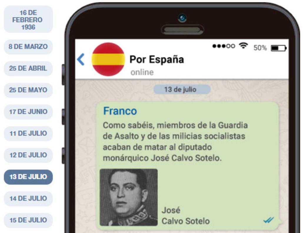 Detalle de la recreación en Whatsapp de los mensajes entre Franco y el resto de los golpistas.