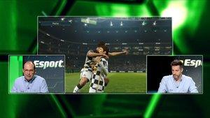 Oriol Vidal y Marc Mayolas,en el plató del nuevo programa de fútbol virtual de Esport3.
