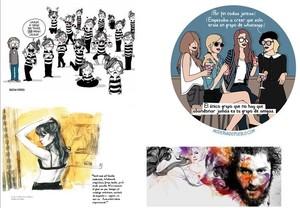 Ejemplos del trabajo de cuatro de los 15 artistas que forman parte de la exposición del Salón del Cómic Ilustr@:Agustina Guerrero (La Volátil), Moderna de Pueblo (Raquel Córcoles),Gabriel Moreno yPaula Bonet(en sentido de las agujas del reloj).