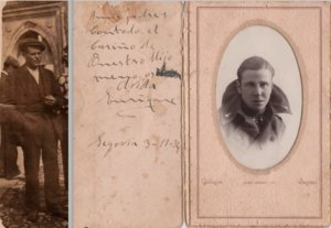 Enrique Vicente Iza (izquierda) y su hijo Enrique Vicente Valdión, este en una tarjeta postal que envió a los padres durante su servicio militar. Los dos fueron fusilados por el franquismo acusados de ayudar a republicanos a cruzar la frontera de Portugal.