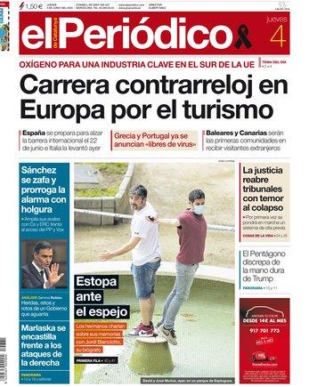 La portada d'EL PERIÓDICO del 4 de juny del 2020