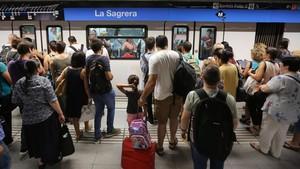 La estación de metro de La Sagrera,en una huelga anterior.