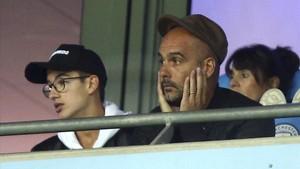 Guardiola, en un partido reciente de las Champions en Manchester.
