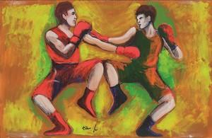 Ilustración de Dario Fo para su novela El campeón prohibido.