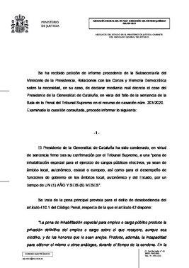 Informe de la Abogacía del Estado sobre la necesidad de publicación en el BOE de la inhabilitación de Quim Torra como 'president' de la Generalitat.