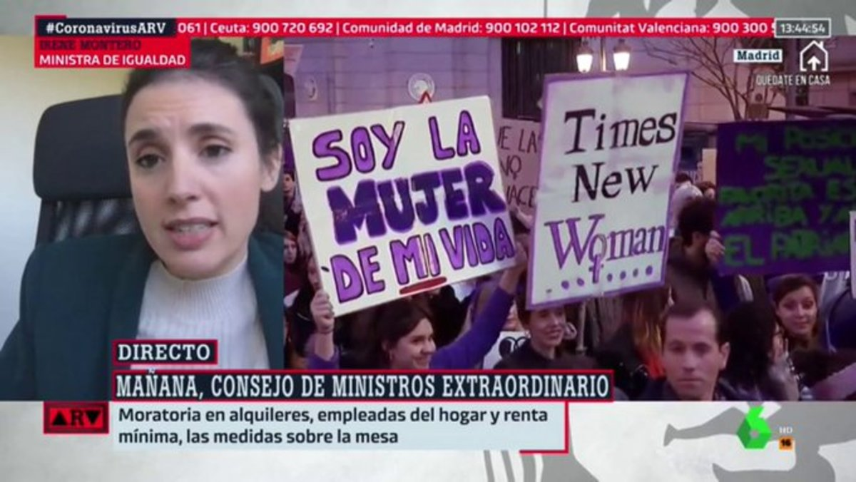 Irene Montero reaparece en 'Al rojo vivo' tras su positivo en coronavirus y responde a las críticas por el 8M