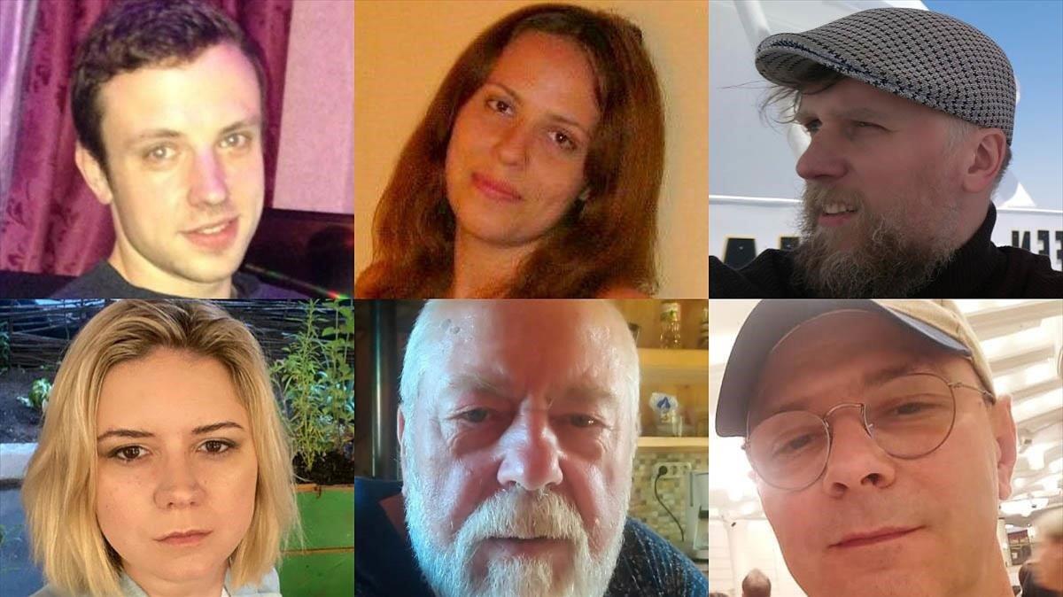De izquierda a derecha y de arriba a abajo: Stanislav Lukashov, Alesya Baranóvskaya, Yulian Suetin, Aliona Datlina, Borís Lukashov y Andréi Dantsig.
