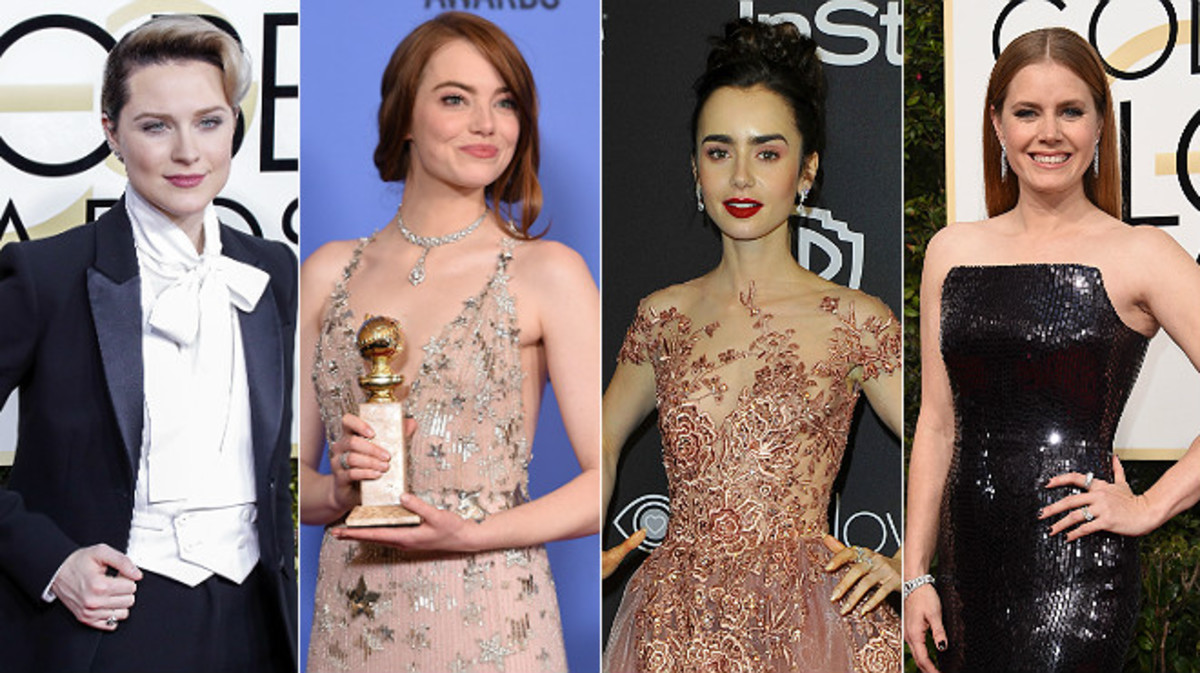 De izquierda a derecha, Evan Rachel Wood, Emma Stone, Lilly Collins y Amy Adams.