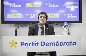 El presidente del PDECat, David Bonvehí, en rueda de prensa.