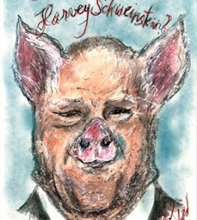 La caricatura deKarl Lagerfeld sobre Harvey Weinstein para el suplemento mensual del diario Frankfurter Allgemeine Zeitung.