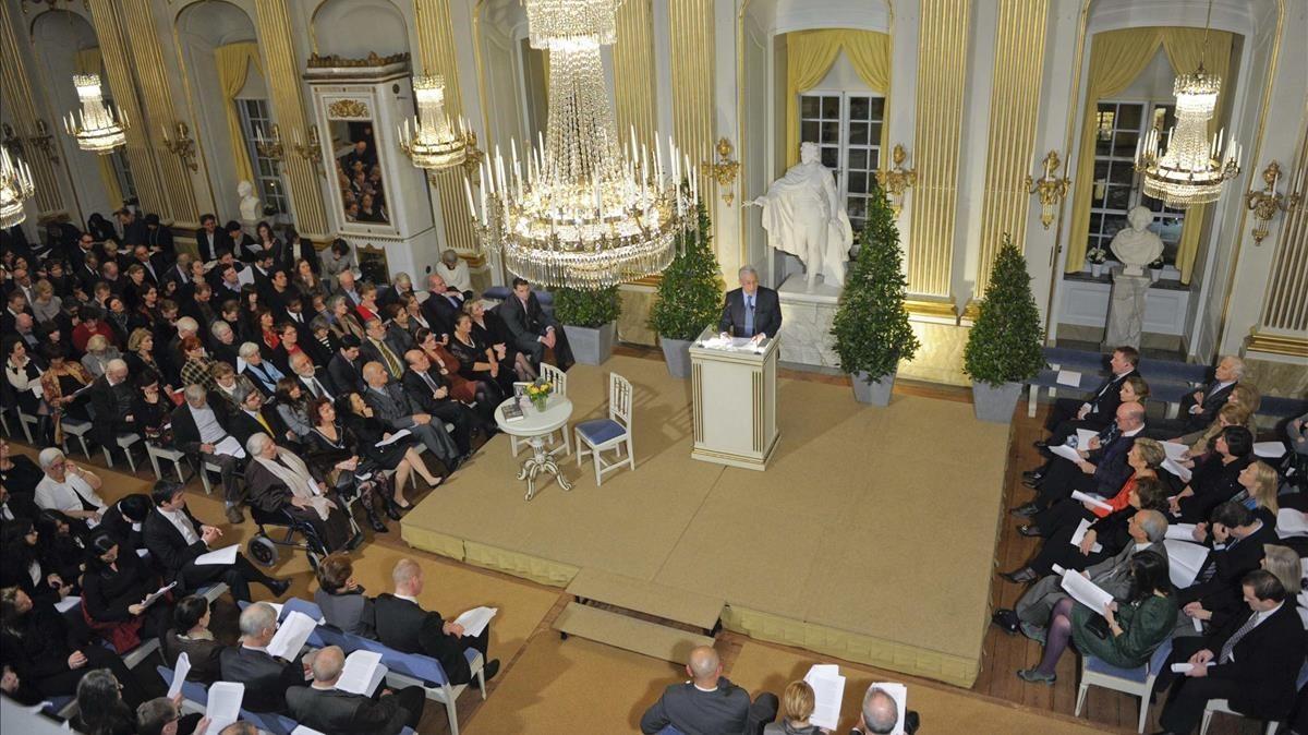 Lectura del Nobel de Literatura en la Academia Sueca.