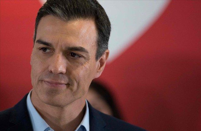 El líder de los socialistas, Pedro Sánchez, en uno de los mítines de la campaña electoral para el 28-A