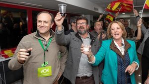 Los cabeza de lista de Vox por Murcia al Congreso celebran la victoria.