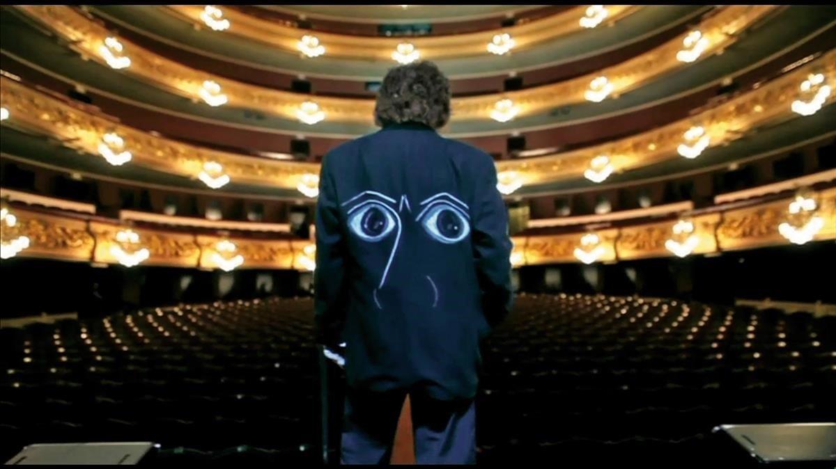 'Los ojos de Picasso', pintados por Aurora Carbonellpara Enrique Morente en la chaqueta con la que el cantaor actuó en el Liceu en el 2010.