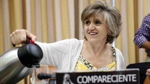 La ministra de Sanidad,María Luisa Carcedo, en una imagen de archivo de una comparecencia en el Congreso desde su anterior cargo como Comisionada para la Pobreza Infantil