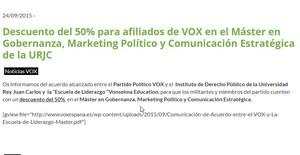 VOX oferia un descompte del 50% als seus afiliats per a un màster de la URJC de l'institut de Cifuentes