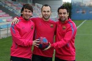 Messi, Iniesta y Xavi.