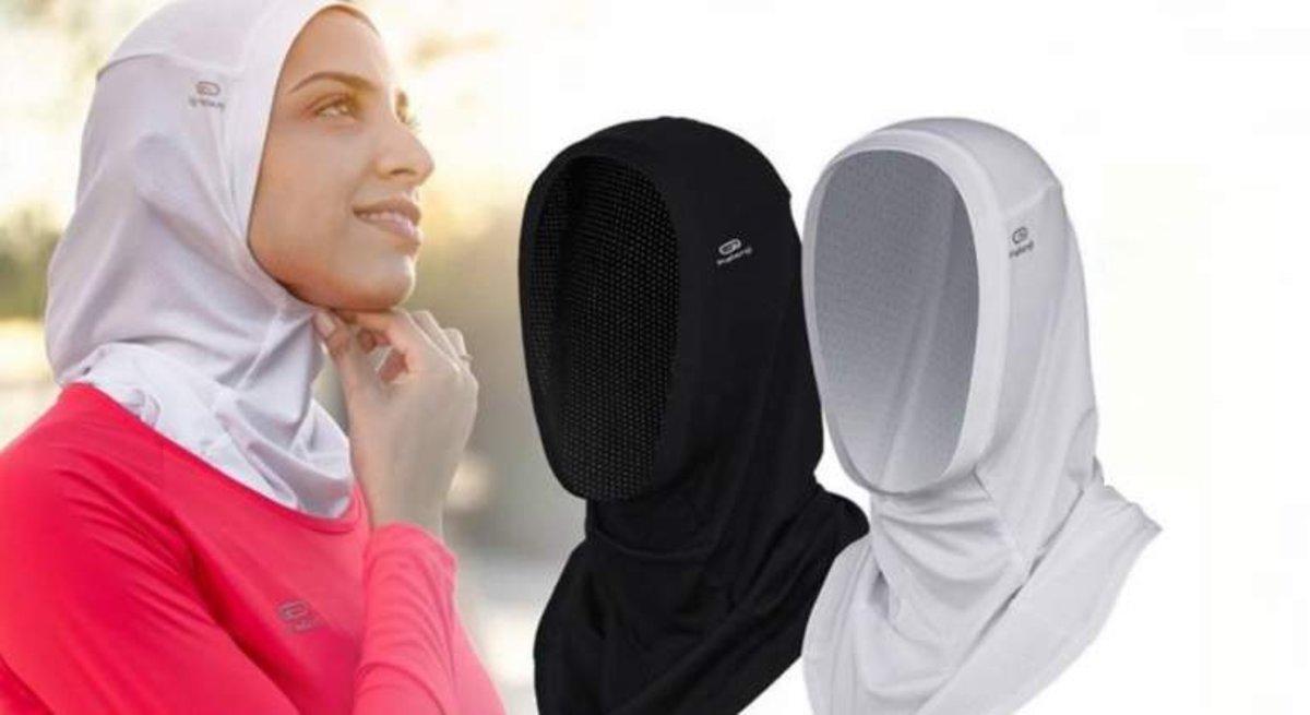 Modelos de 'hiyab' que Decathlon preveía comercializar en Francia.