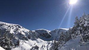 Nieve en las pistas de esquí de Masella.