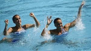 Ona Carbonell y Gemma Mengual, en un momento de la rutina técnica