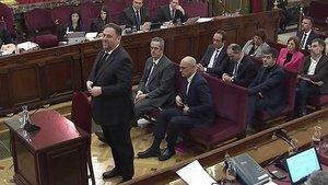Oriol Junqueras en su declaración en el juicio del procés.