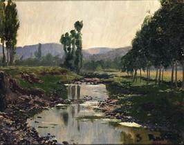 'Paisatge amb rierol', de Santiago Rusiñol (1889), en la exposición del Museu de la Vida Rural.