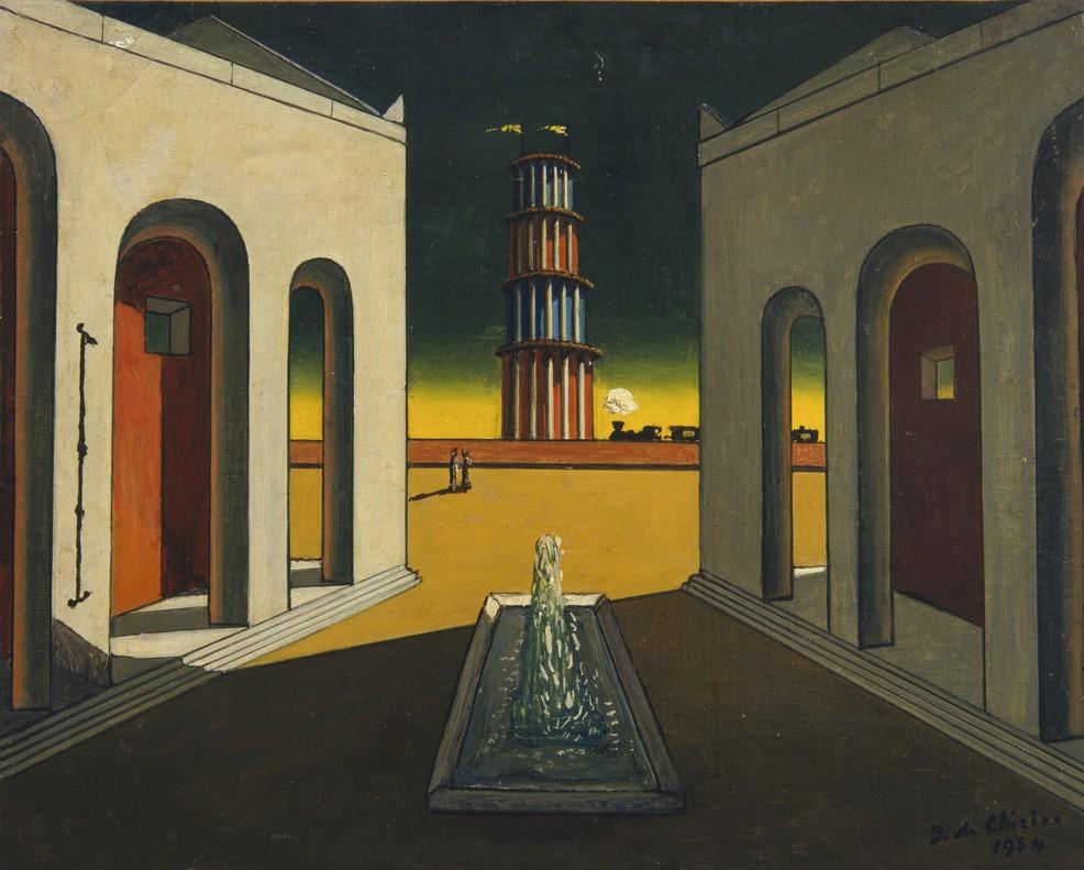 Plaza de Italia con fuente (1968), en la exposición de De Chirico en CaixaForum.