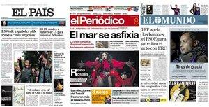 Portadas de los principales diarios de España