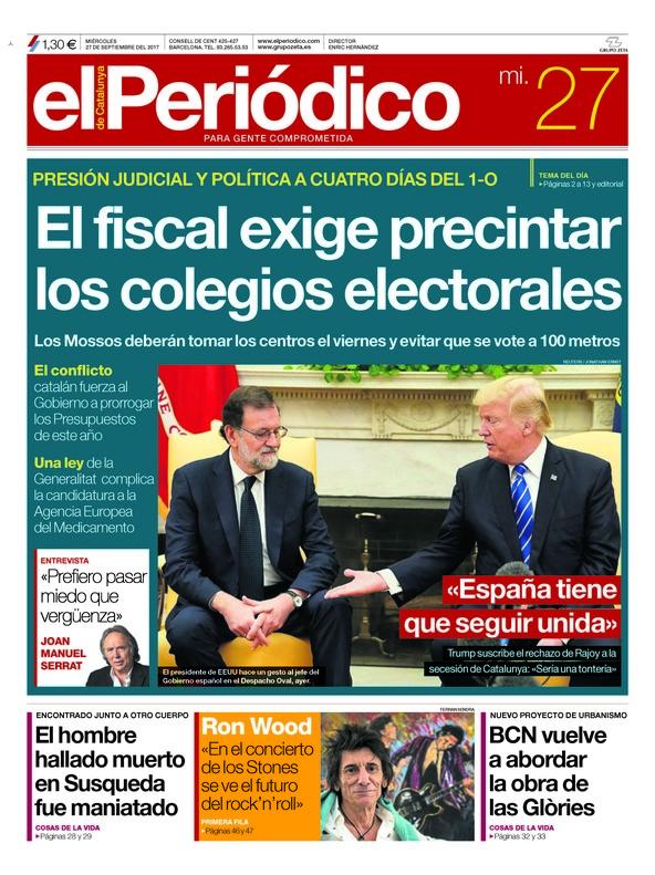 De precintar colegios, de Trump y Rajoy, y de la Warner y los derechos de Piolín