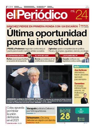 La portada de EL PERIÓDICO del 24 de julio del 2019