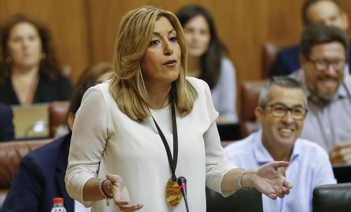 La presidenta de la Junta, Susana Díaz, en el Parlamento andaluz.