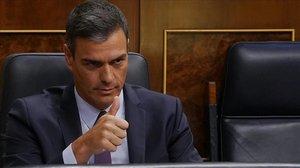 El presidente del Gobierno en funciones, Pedro Sánchez, en un pleno del Congreso.