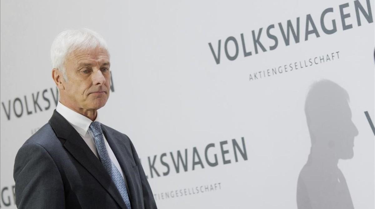 El presidente de Volkswagen, Matthias Müller, en la presentación de los resultados en Wolfsburg.