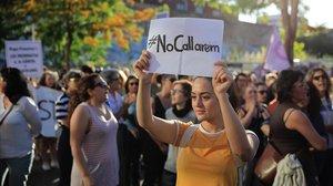 Protesta contra la violencia machista en Barcelona.