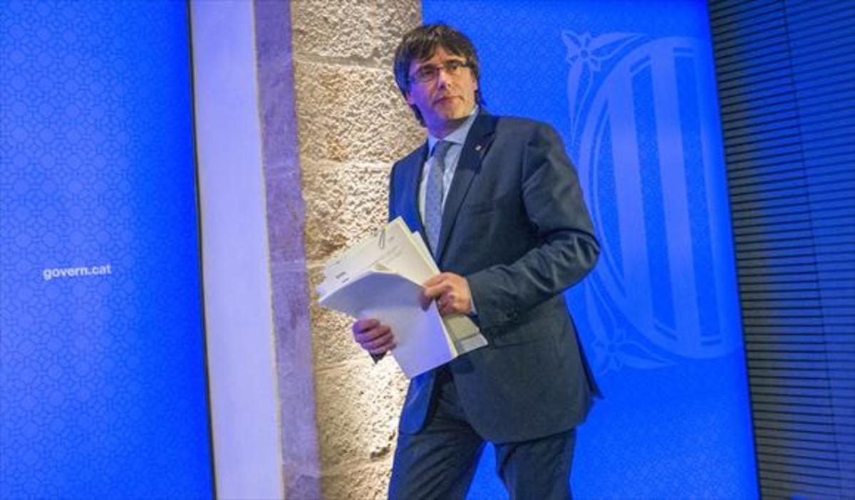 El president Puigdemont en el Palau de la Generalitat.