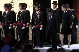 Puigdemont y Forcadell, en el acto institucional de la Diada, en el Born de Barcelona.