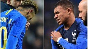 Neymar y Mbappé se duelen en los amistosos disputados este martes.