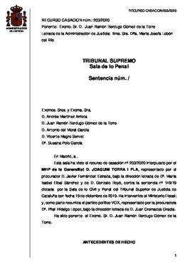 Sentencia del Tribunal Supremo de confirmación de la inhabilitación de Quim Torra como 'president' de la Generalitat.