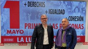 Los secretarios generales de CCOO y UGT, Unai Sordo (i) y Pepe Álvarez (d), durante la presentación de los actos del Primero de Mayo del 2019.