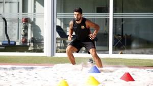 Suárez, en la ciudad deportiva del Barcelona.