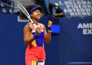Sep 10, 2020; Flushing Meadows, New York, USA; Naomi Osaka of Japan reacts after winning the match against Jennifer Brady of the United States in the women's singles semifinals match on day eleven of the 2020 U.S. Open tennis tournament at USTA Billie Jean King National Tennis Center. Mandatory Credit: Robert Deutsch-USA TODAY Sports