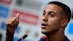 Thiago, en la conferencia de prensa que ofreció en el estadio de Krasnodar.