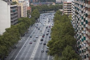 Una imagen de la Meridiana poco antes del paseo de Fabra i Puig, ayer.
