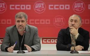 Unai Sordo y Josep María Álvarez, en la rueda de prensa de ayer, en Madrid.