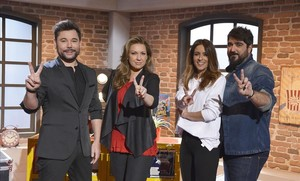 De izquierda a derecha, Miguel Poveda, Niña Pastori, Bebe y Antonio Orozco, asesores de 'La voz'.