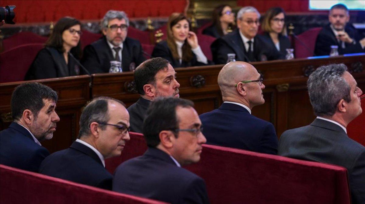 Jordi Sànchez, JordiTurull, Josep Rull i OriolJunquerasdurant el judici del 'procés' al Tribunal Suprem.