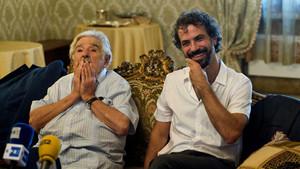 José Mújica y Álvaro Brechner, durante la presentación de la película La noche de 12 años, en la Mostra de Venecia.