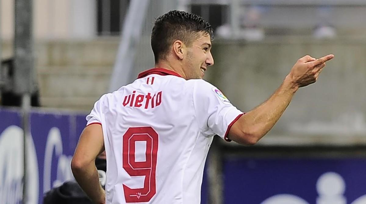 Vietto celebra su gol con el Sevilla en Eibar.
